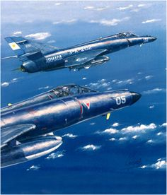 Two Argentinian Super Etendard Jets of the 2nd Squadron. Falklands War