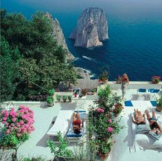 """View from the terrace of Il Canile, villa owned by Umberto Tirelli & Dino Trappetti. Photo by Slim Aarons in """"La Dolce Vita"""", Capri, Italy. August, 1980"""
