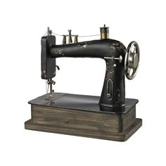 Sterling Industries 51-10039 Antique Replica Sewing Machine Barret ($116) ❤ liked on Polyvore featuring home, home decor, accents, filler, statues & figurines, bronze statues, antique bronze statues, antique bronze figurines, bronze statuary and black home decor