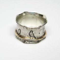 Oiseaux sur un fil en argent Sterling et 10k par janiceartjewelry