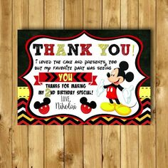 Mickey Mouse Thank You Card Mickey Mouse by VeronicaVaselinArts
