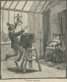 """I scanned this illustration from an 1891 issue of The Strand Magazine in our collection to comment on the """"hidden mother"""" behind the chair. I am posting it here to point out the head rest to the left of the chair. Do you see anyway it can hold up dead people? Of course not! It was to help live people hold still and stay in place."""