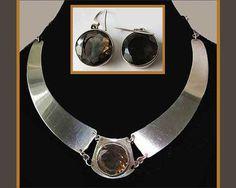 SMOKEY Set-Israeli Modernist Faceted Smoky Topaz Sterling Necklace/Earrings,1950s,Israel,Valentines,Vintage Jewelry Women