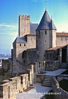 Walking the city walls in Carcassonne, Dept. Aude, France, gives views to La Cite and the countryside. ©Ric Ergenbright