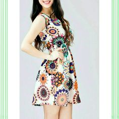 Flowy Starburst Dress - bright and bold design - great for the hot weather - cinched waist - chiffon material  Fits like a M/L #ali7649 Dresses