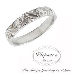 VINTAGE INSPIRED FLORAL BAND. This ring can be made in 9ct or 18ct white gold, rose gold, yellow gold, sterling silver or platinum.  This band has a width of 3.5mm  Prices vary depending on your unique specifications, please don't hesitate to contact us for a quote tailored for you. Visit us at www.klepners.com.au