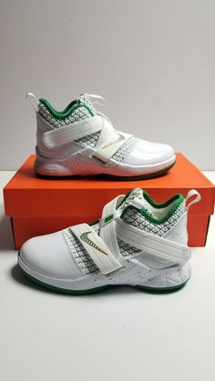 9044bb83e34 Nike Lebron Soldier XII (PS) AA1353-100 SVSM White Green Gold Little kids  SZ 1y  fashion  clothing  shoes  accessories  kidsclothingshoesaccs   boysshoes ...