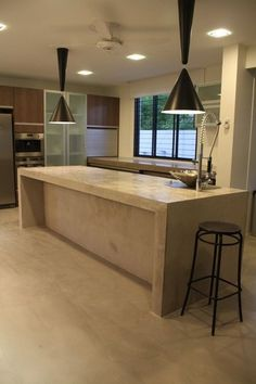concrete island | Polished concrete kitchen island – Designer Finish (M) Sdn. Bhd ...Hate those lamps