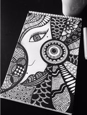The Simple Mandala Drawing ideas and Designs are used in psychological therapies 'cause powerful vibrations that give the ability to explore the inner self. Doodle Art Drawing, Zentangle Drawings, Cool Art Drawings, Mandala Drawing, Art Sketches, Zentangles, Easy Drawings, Mandala Art Lesson, Mandala Artwork