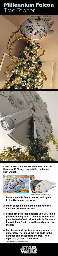 Star Wars Millennium Falcon Tree Topper Idea by forFREEDOM. #StarWars #RogueOne #MillenniumFalcon #ChristmasTreeTopper #StarWarsTree