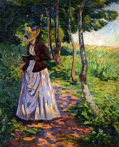 Madame Guillaumin (c.1885). Armand Guillaumin (French, 1841-1927). Oil on canvas. Guillaumin exhibited at the Salon des Refusés in 1863. He participated in six of the eight Impressionist exhibitions. In 1886 he became a friend of Vincent van Gogh whose brother Theo sold some of his works. He was finally able to quit his government job and concentrate on painting full-time in 1891, when he won 100,000 francs in the state lottery.