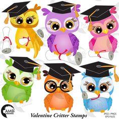 Owl Clip Art, Owl Art, Digital Stamps, Digital Scrapbooking, Image Paper, Graduation Invitations, Graduation Caps, Cute Owl, Printing On Fabric