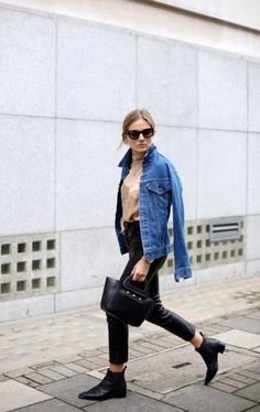 Jean jackets and pointed toe boots.
