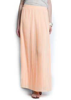 MANGO - NEW - Pleated chiffon long skirt