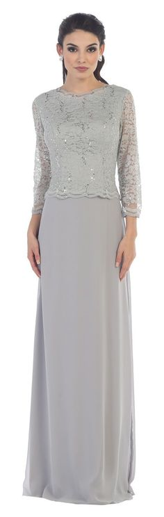 This elegant mother of the bride floor length dress features 3/4 sleeve with v back, lace with sequins embroideries and chiffon material. Perfect for formal event and other special occasion. Fabric :