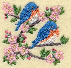 Blossoms and Bluebirds design (H4329) from www.Emblibrary.com