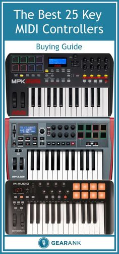 Detailed guide to 25-Key MIDI Controller Keyboards. Along with a list of the highest rated keyboards to buy it also includes advice on USB vs 5-Pin MIDI, Key size & weight, USB vs separate power supply, Pads, Mod Wheels, Aftertouch and more.
