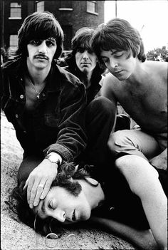 At each others' throats, not so jokingly ...  Don McCullin - The Beatles, 1968