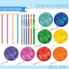 Knitting digital clipart crochet clipart by HungryPandaSupplies Crochet Hooks, Knit Crochet, Clip Art Pictures, Yarn Ball, Art File, Book Crafts, Knitting Needles, Needlework, Craft Supplies