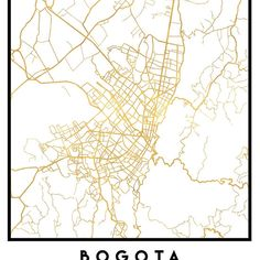 BOGOTA COLOMBIA CITY STREET MAP ART -  An elegant city street map of Bogota, Colombia in gold, with the exact coordinates of the city, make up this amazing art piece. A great gift for anybody that has love for this city. You can never go wrong with gold. I love my city.