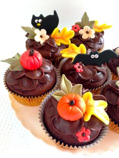 Decorated Autumn Cupcakes - Celebrate the crisp, fresh air and colorful leaves of Autumn with cupcakes! These Chocolate Buttercream Cupcakes are a perfect Autumn or Halloween treat.