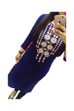 Blue embroidered Georgette semi stitched kurti    Blue Kurtis, blue color kurtis, royal blue colour kurtis, blue Kurtis online, blue kurti Royal Blue Color, Dress Collection, Party Wear, Bell Sleeve Top, Couture, Clothes For Women, How To Wear, Fashion Design, Fast Shop