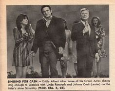 Linda Ronstadt, Johnny Cash & Eddie Albert: TV Showtime Magazine Pictorial [United States]  (20 June 1969)