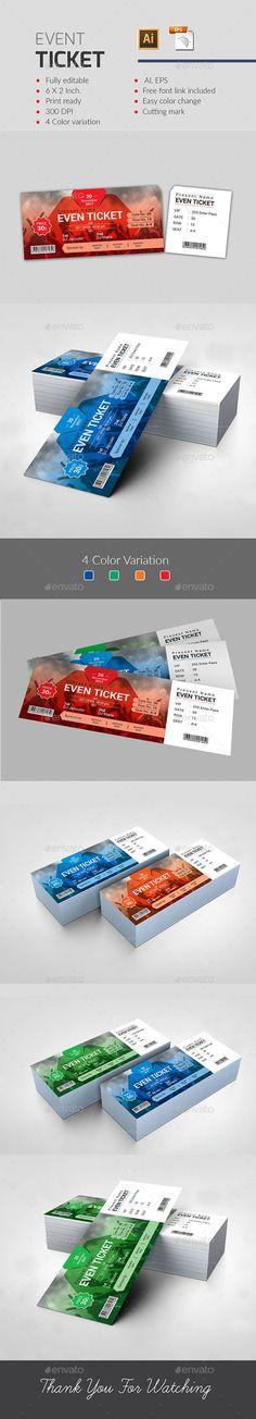 Event Ticket - #Events #Flyers Download Here:    https://graphicriver.net/item/event-ticket/20162314?ref=suz_562geid