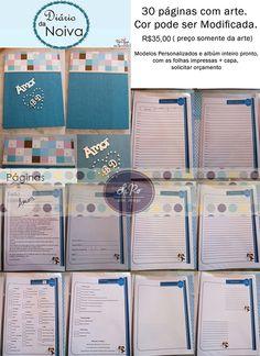Arte digital para páginas de diário/agenda/caderno da noiva. Tamanho A4. VÁRIAS CORES. <br> <br>Preço cobrado somente pela arte digital ENVIADA POR E-MAIL. Será enviado por e-mail, em alta resolução, em arquivo PDF, distribuídos em folha A4 e com as medidas ajustadas, pronto para impressão em casa ou gráfica. <br> <br>Caso queira receber o caderno em casa pronto,em tamanho A4, o preço é R$99,90 com um total de 60 folhas e 120 páginas; capa dura e em espiral. Caso queira tipo fichário/pasta…