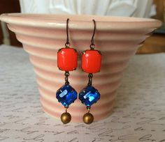 Fun Colorful Orange and Sapphire Blue Vintage by Tilliegirlstudio