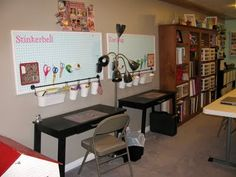"""Controlling My Chaos: organizing.  Use a pegboard above your kids' desks to organize all their """"crap"""" so they have more room to do homework, or crafting or whatever"""