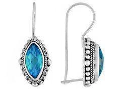 "Artisan Gem Collection Of Bali (Tm) ""caribbean"" Quartz Triplet Sterling Silver Earrings"