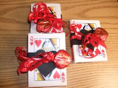 Table favors for Queen of Hearts card party or golf tournament. More at blog: www.backcountrymysteries.wordpress.com.