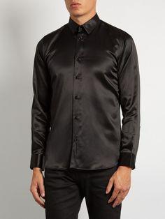 Saint Laurent Button-cuff silk-satin shirt