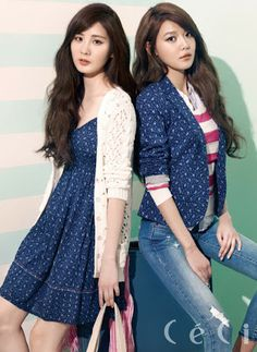 Seohyun and Sooyoung SNSD Girls' Generation Ceci Magazine March Issue 2013 Snsd Fashion, Asian Fashion, Yuri, Asian Woman, Asian Girl, Sooyoung Snsd, Blusas Top, I Love Girls, Korean Outfits