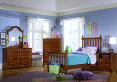 Vaughan-Bassett Cottage Collection Slat Poster Bedroom Set in Cherry