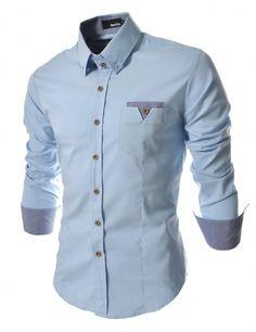 Doublju - Camisa Casual com Bolso Frontal (CD063) Compre roupas de qualidade 2caf7f40a19