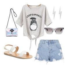 Grey White Striped Totoro Print Knotted T-Shirt