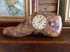 Collage Shoe Molding, Shoe Stretcher, Quirky Art, Decorated Shoes, Shoe Last, Painted Shoes, Vintage Shoes, Textile Art, Diana