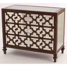 FABULOUS ANTIQUE STYLE MOROCCAN MIRROR CARVED WOOD CHEST/DRESSER, 41''WIDE.
