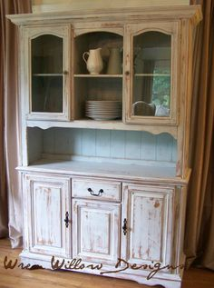 Very Distressed Shabby Milk Paint Hutch on Etsy, $350.00