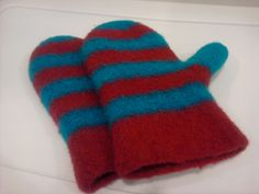 Red and Turquoise Felted Mittens by DesignsbyFredericka on Etsy, $35.00
