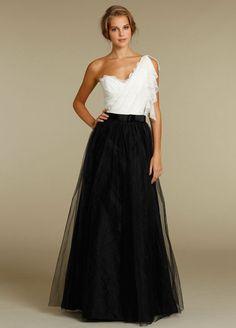 Lace and Net One Shoulder Tassel Strap A-line Bridesmaid Dress #wedding #weddings #bridesmaid #bridesmaid_dress #wedding_party_dress