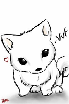 Loving easy chibi drawings, cute wolf drawings, cute drawings of animals, e Anime Chibi, Pet Anime, Kawaii Chibi, Anime Animals, Anime Kawaii, Cute Animals, Chibi Dog, Anime Wolf, Anime Naruto