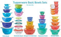Tupperware bowls n sizes