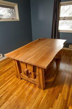 Custom Made Live Edge Reclaimed White Oak Trestle Dining Table