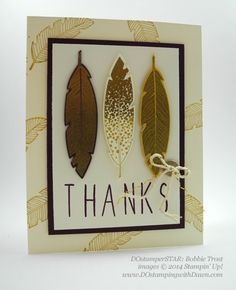 Stampin' Up! ... handmade thank-you card from dostamping ... shared by Dawn Olchefske ... ivory base with outline feather stamped forms wide mat ... three feathers stam[ed and die cut on focal point block ... large THANKS  ... great card!