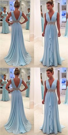 New Arrival Light Blue Chiffon Prom Dresses Deep V Neck Off The Shoulder Evening Gowns,High Low Long Prom Dress With Beaded Waist,Women Party Gowns - Ballkleid - Open Back Prom Dresses, High Low Prom Dresses, V Neck Prom Dresses, Beaded Prom Dress, Ball Dresses, Ball Gowns, Bridesmaid Dresses, Formal Dresses, Wedding Dresses