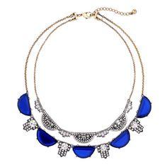 Vintage Blue Gemstone Rhinestone Layered Necklace For Women – Shelovejewelry