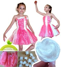 Fantastic Plastic Dress with Roses from Old Plastic Shopping Bags